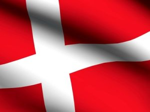 Flag of Denmark in wind